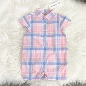 Janie and Jack Blue & Pink Plaid Collared Romper